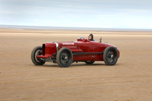 Sunbeam Tiger at speed on Southport Sands